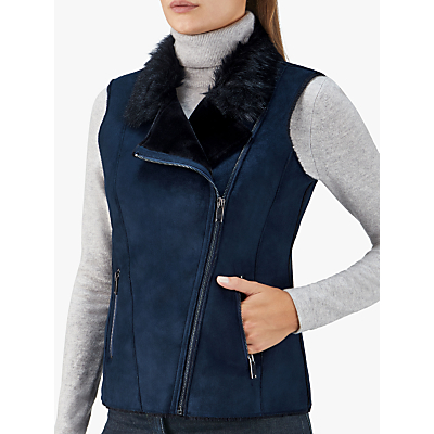 Pure Collection Faux Shearling Gilet, Navy