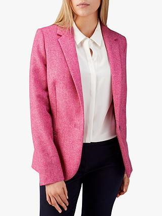 Buy Pure Collection Tailored Textured Blazer, Pink Herringbone, 10 Online at johnlewis.com