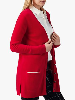 Pure Collection Cashmere Boyfriend Cardigan, Pillarbox Red