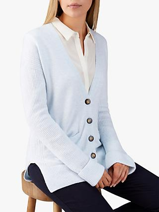 Pure Collection Rib Sleeve Cardigan, Blue Mist