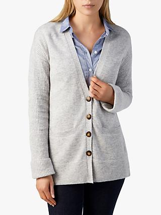 Pure Collection Rib Sleeve Cardigan, Heather Dove