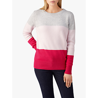 Pure Collection Boyfriend Jumper, Pink Multi