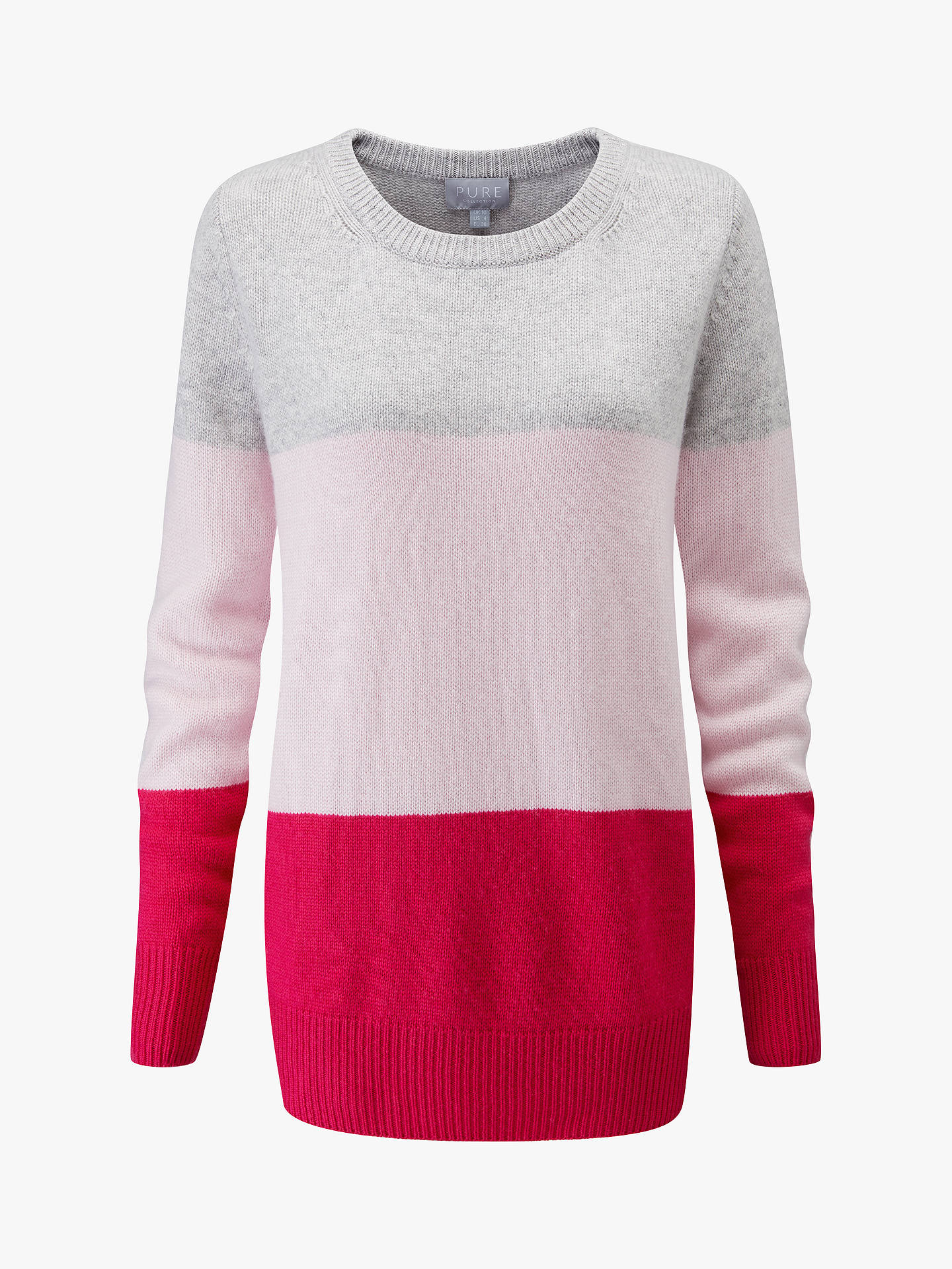 Buy Pure Collection Boyfriend Jumper, Pink Multi, 8 Online at johnlewis.com