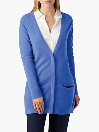 Pure Collection Cashmere Boyfriend Cardigan, Soft Cobalt