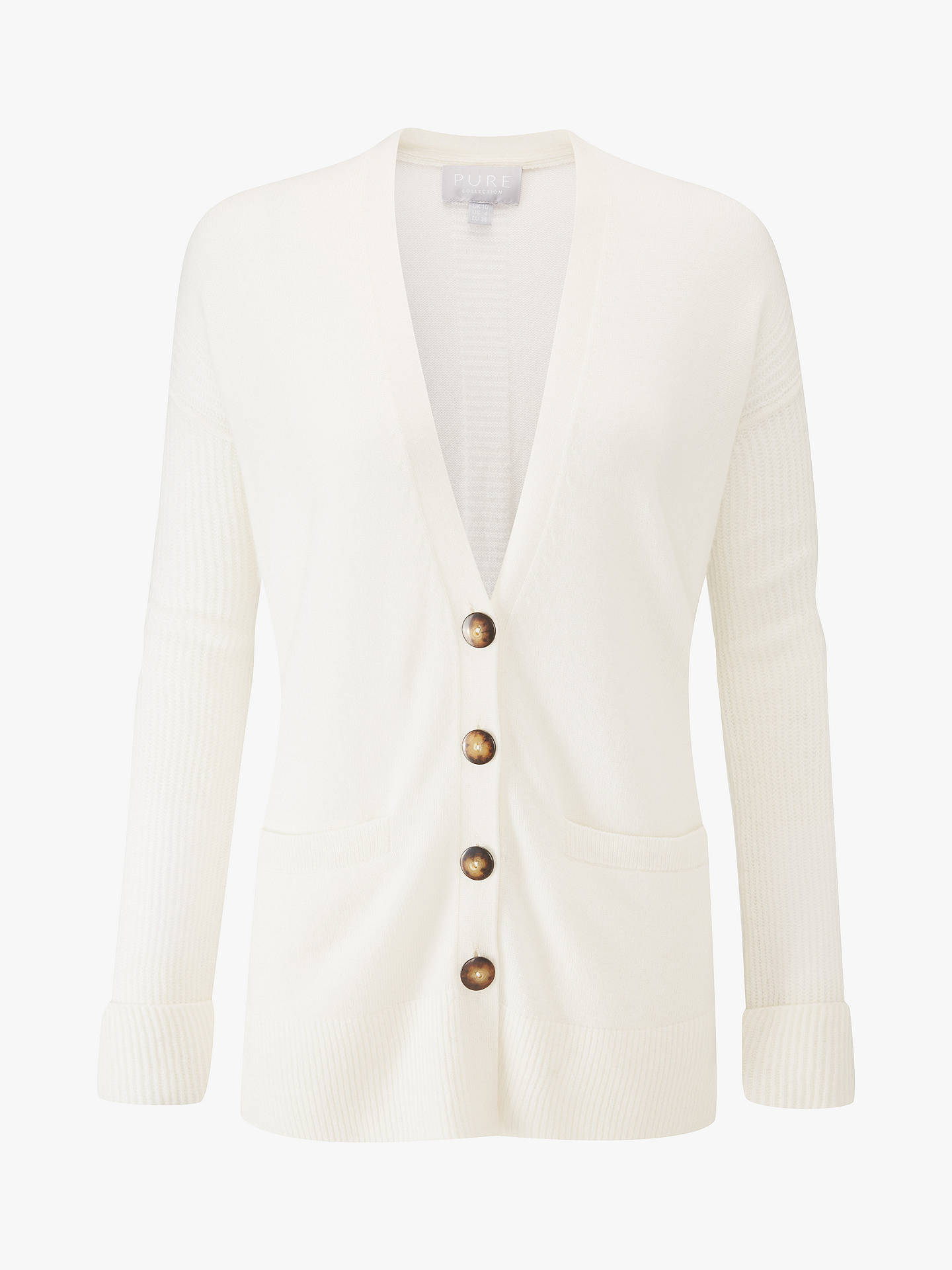 Buy Pure Collection Rib Sleeve Cardigan, Soft White, 16 Online at johnlewis.com
