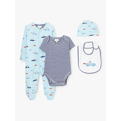 John Lewis & Partners Baby Car Print Sleepsuit, Bodysuit, Bib and Hat Set, Blue