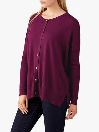 Buy Pure Collection Merino Wool Cardigan, Merlot, 14 Online at johnlewis.com