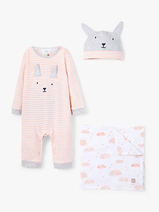 John Lewis & Partners Baby Bunny Sleepsuit and Hat Set