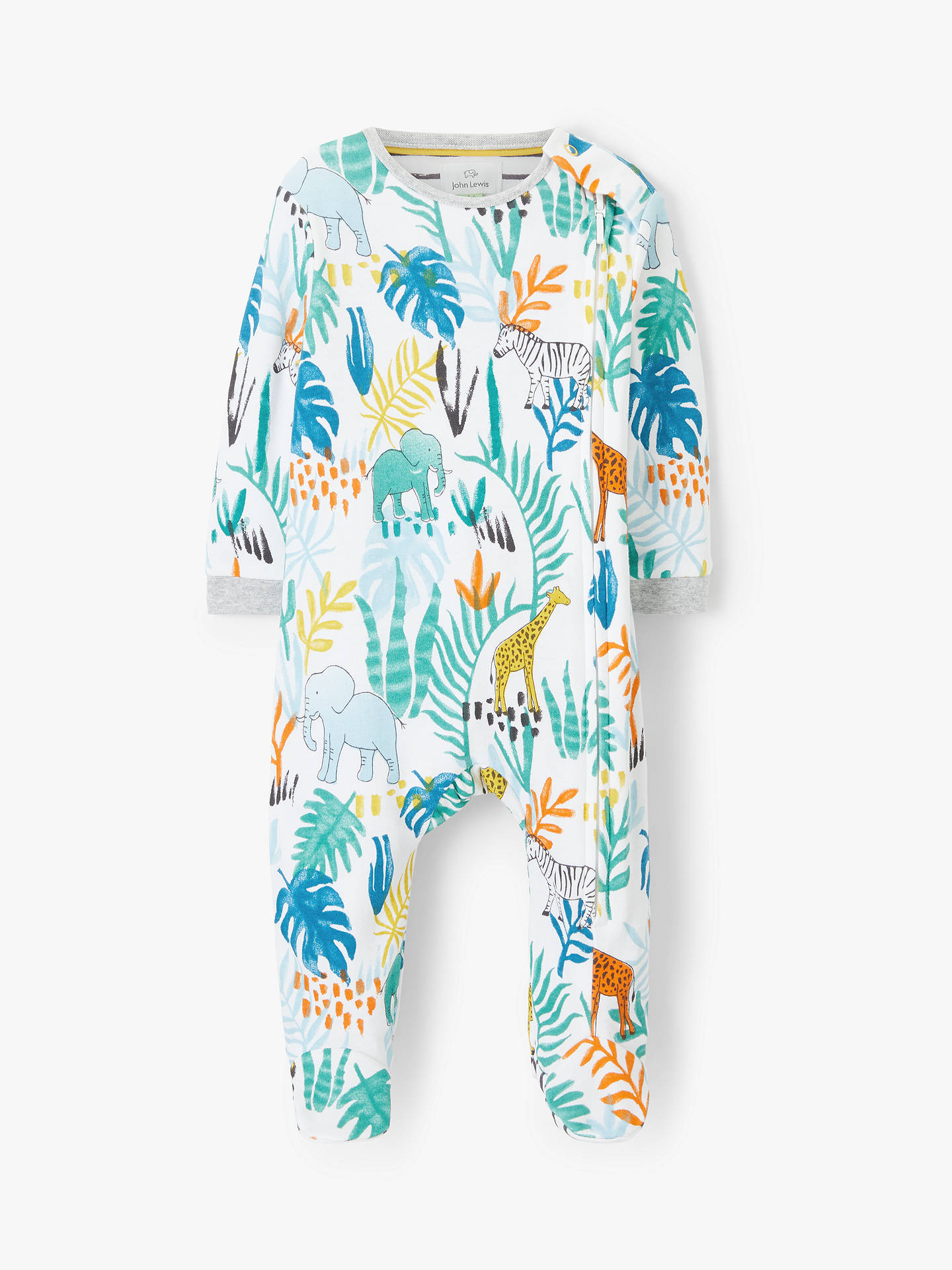 ab44b0fb642b John Lewis   Partners Baby Jungle Zip Sleepsuit