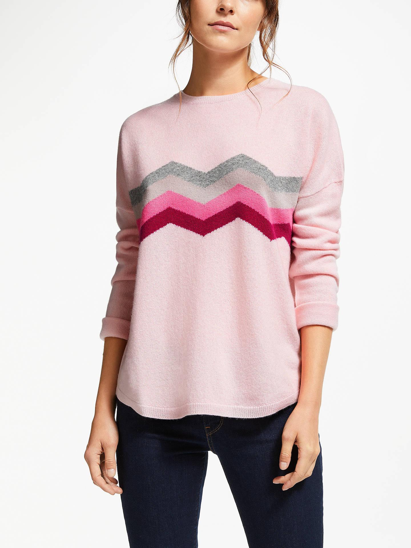 Wyse London Celine Zig Zag Cashmere Jumper, Pale Pink at