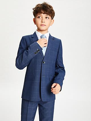 John Lewis & Partners Heirloom Collection Boys' Overcheck Suit Jacket, Blue