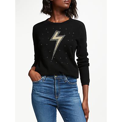 Wyse London Esme Graphic Lightning Cashmere Jumper, Black
