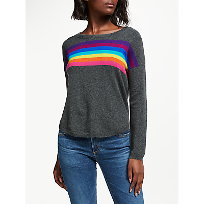 Wyse London Ines Slouchy Rainbow Cashmere Jumper, Charcoal