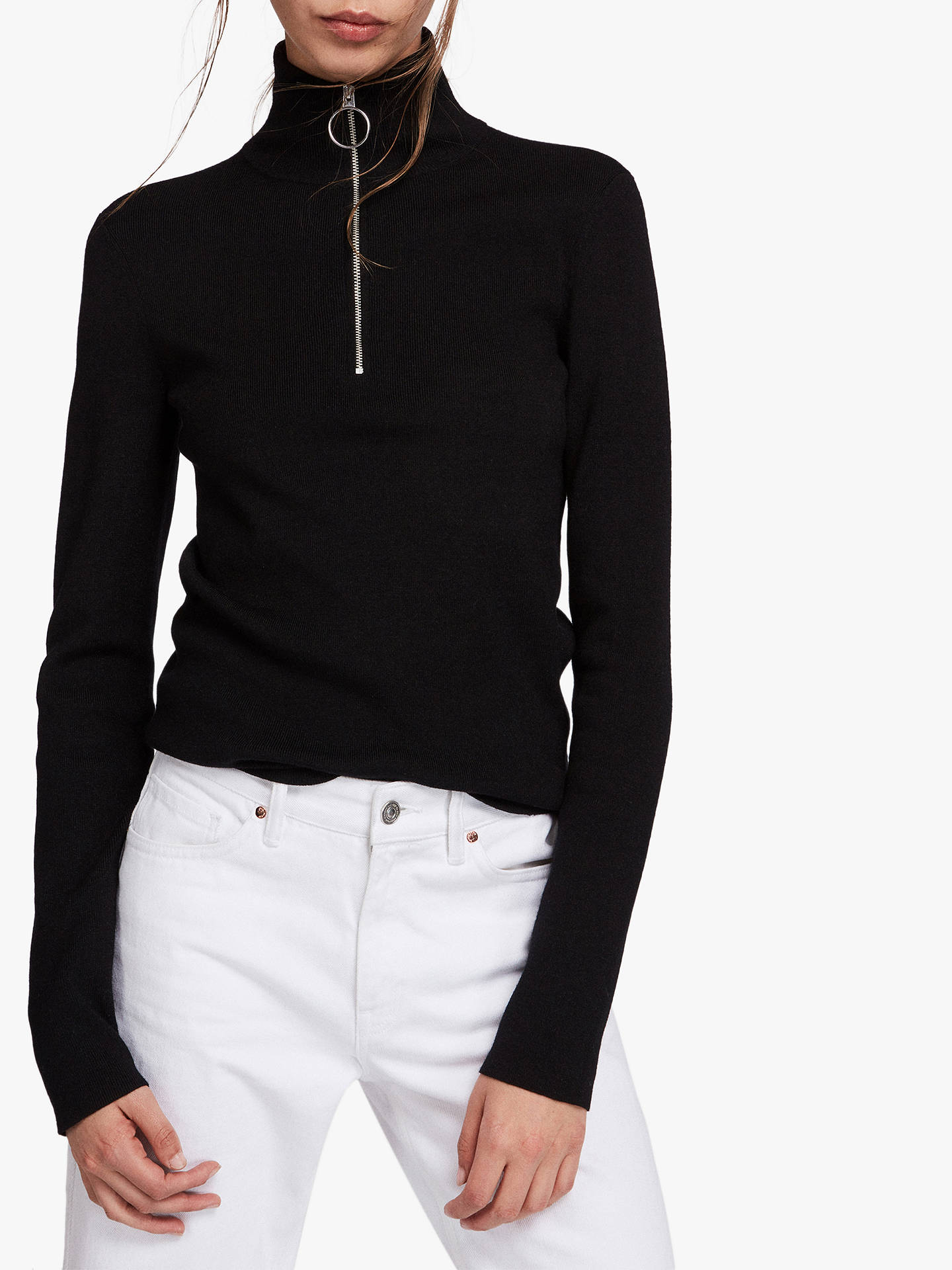 BuyAllSaints Lacey Half-Zip Jumper, Black, L Online at johnlewis.com