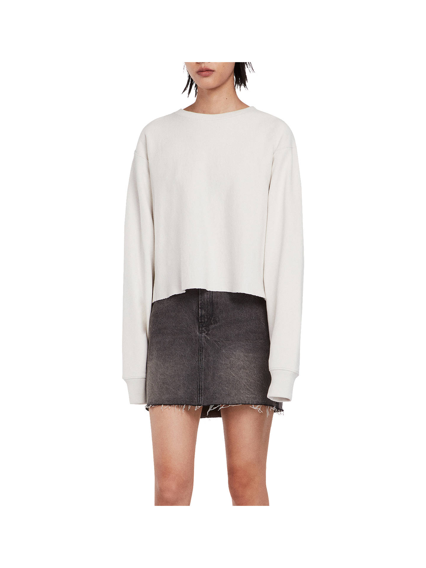BuyAllSaints Navarre Sweatshirt, White Ivory, XS Online at johnlewis.com