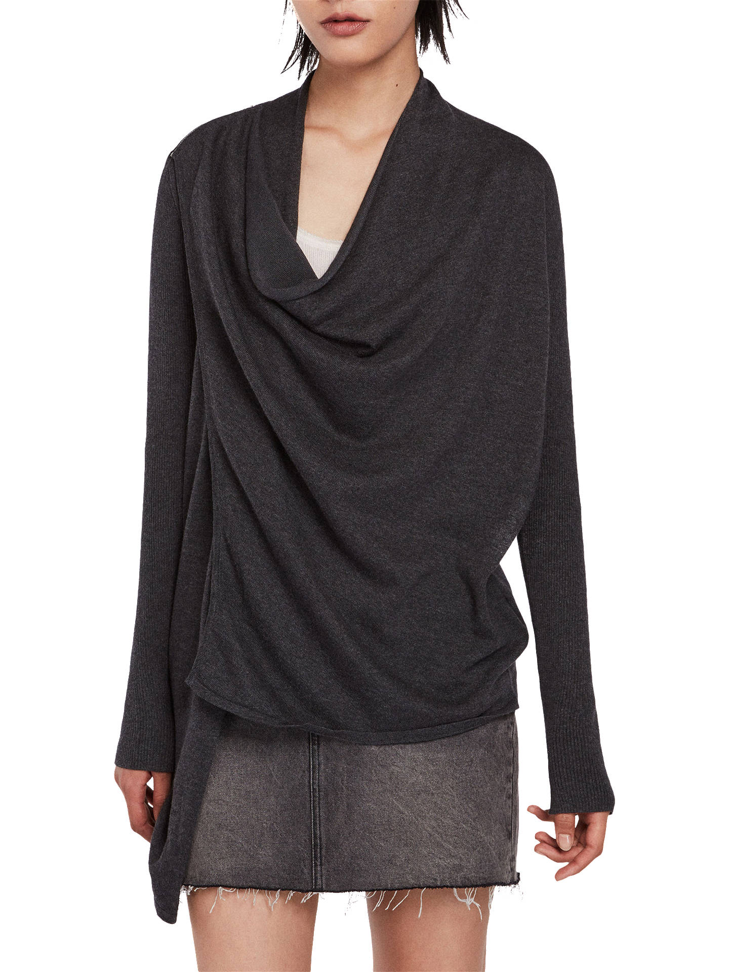 BuyAllSaints Drina Cardigan, Charcoal Grey, L Online at johnlewis.com