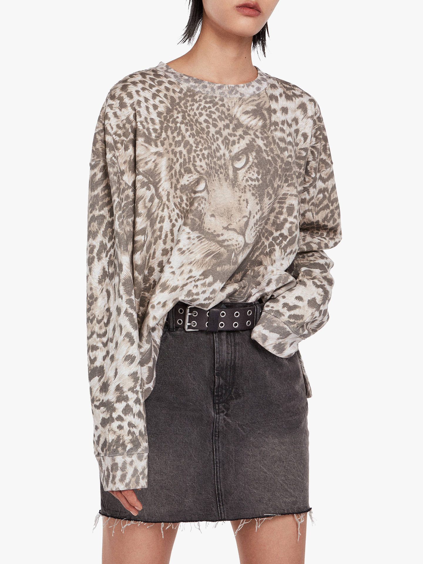 BuyAllSaints Pardos Animal Sweatshirt, Marl Grey, M Online at johnlewis.com