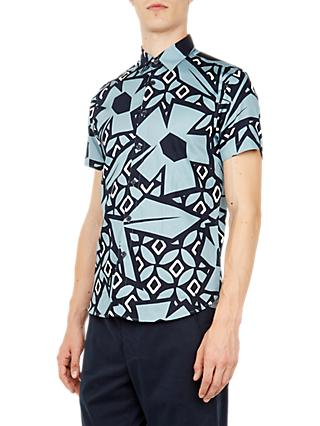 Ted Baker Histle Short Sleeve Shirt, Blue Mid