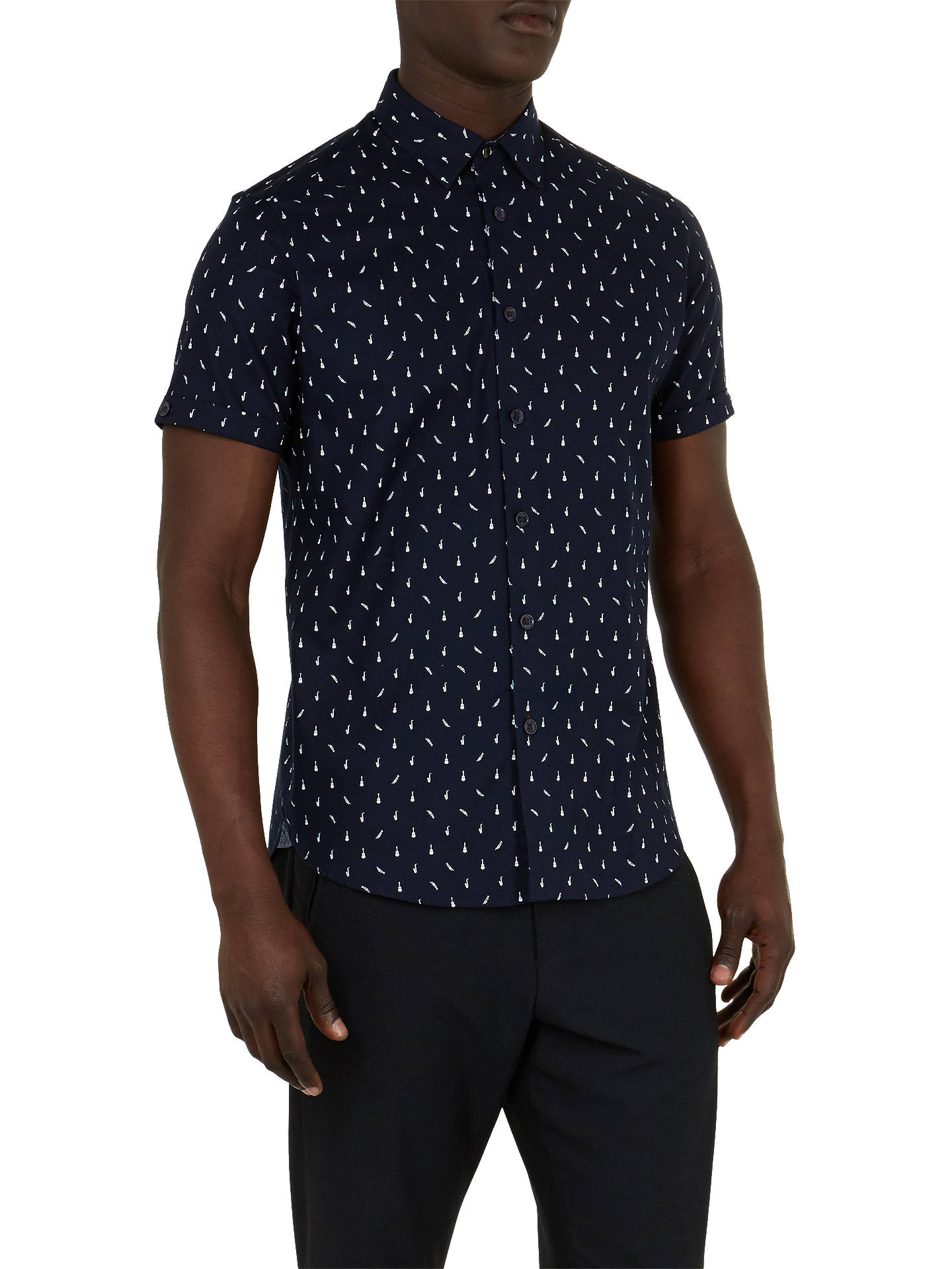 Buy Ted Baker CPalace Short Sleeve Shirt, Navy, 17.5 Online at johnlewis.com