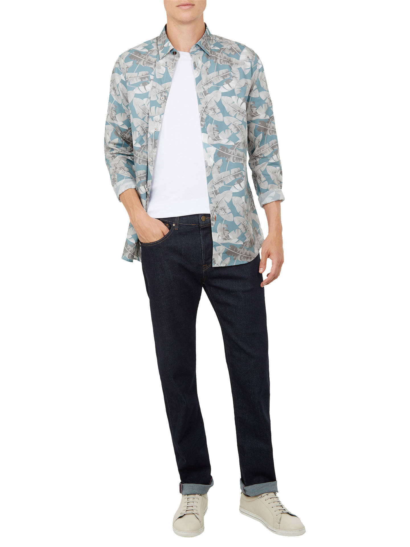 Buy Ted Baker Ramseys Long Sleeve Shirt, Blue Mid, 16.5 Online at johnlewis.com