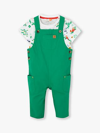 John Lewis & Partners Baby Jungle Dungaree Set, Green