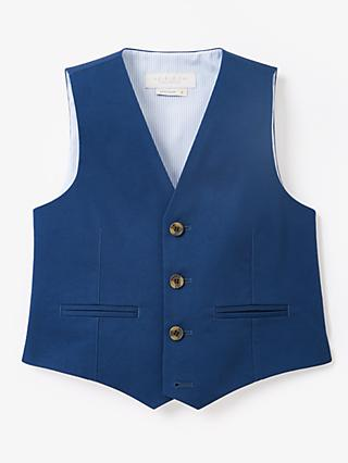 John Lewis & Partners Heirloom Collection Boys' Sateen Suit Waistcoat, Blue