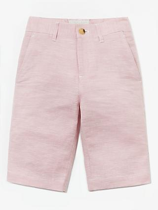 John Lewis & Partners Heirloom Collection Boys' Puppytooth Suit Shorts, Pink
