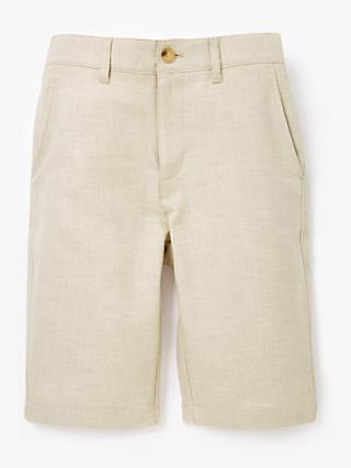 John Lewis & Partners Heirloom Collection Boys' Linen Mix Shorts, Beige