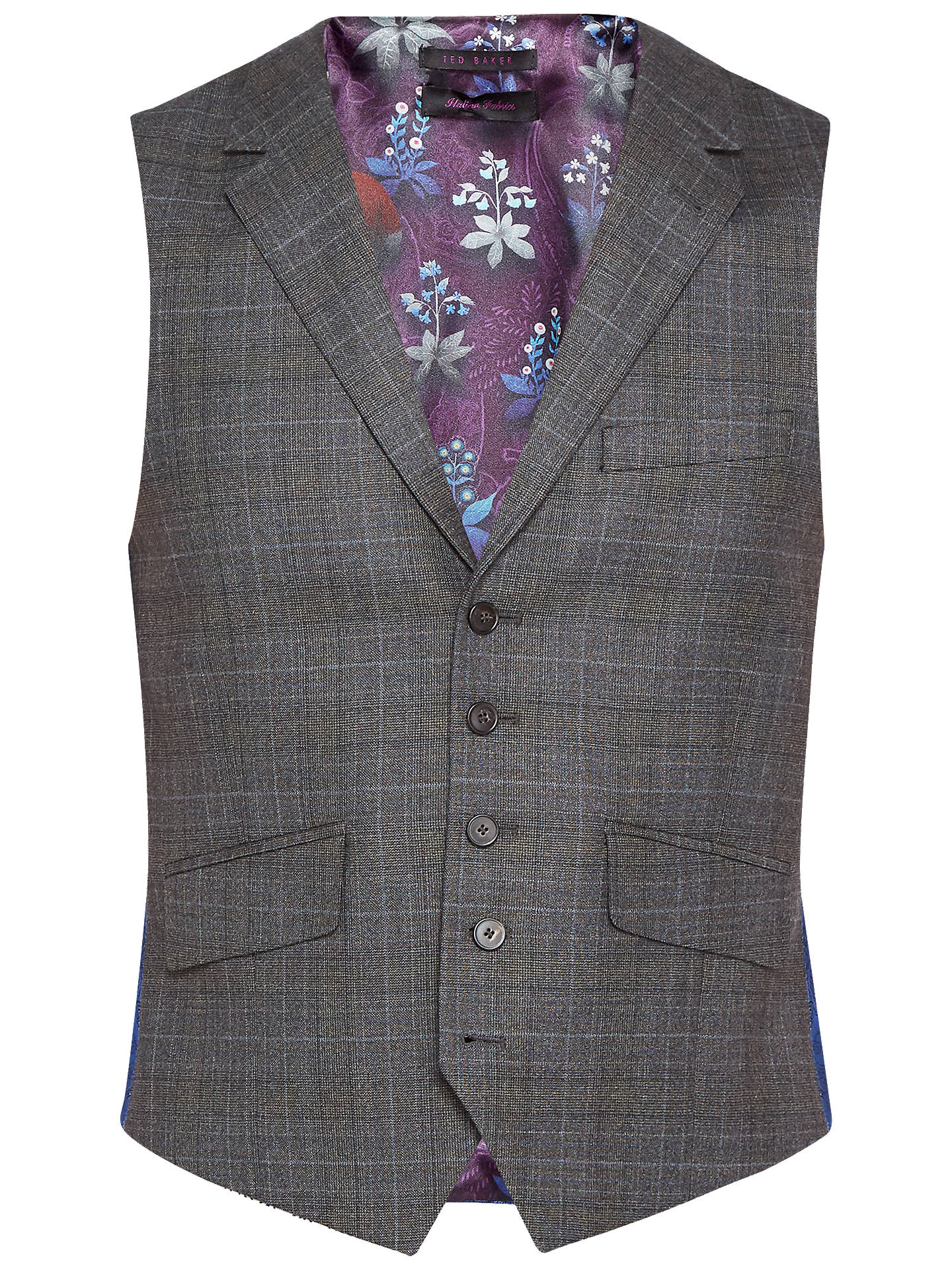 BuyTed Baker Dover Sterling Check Tailored Waistcoat, Charcoal, 40R Online at johnlewis.com