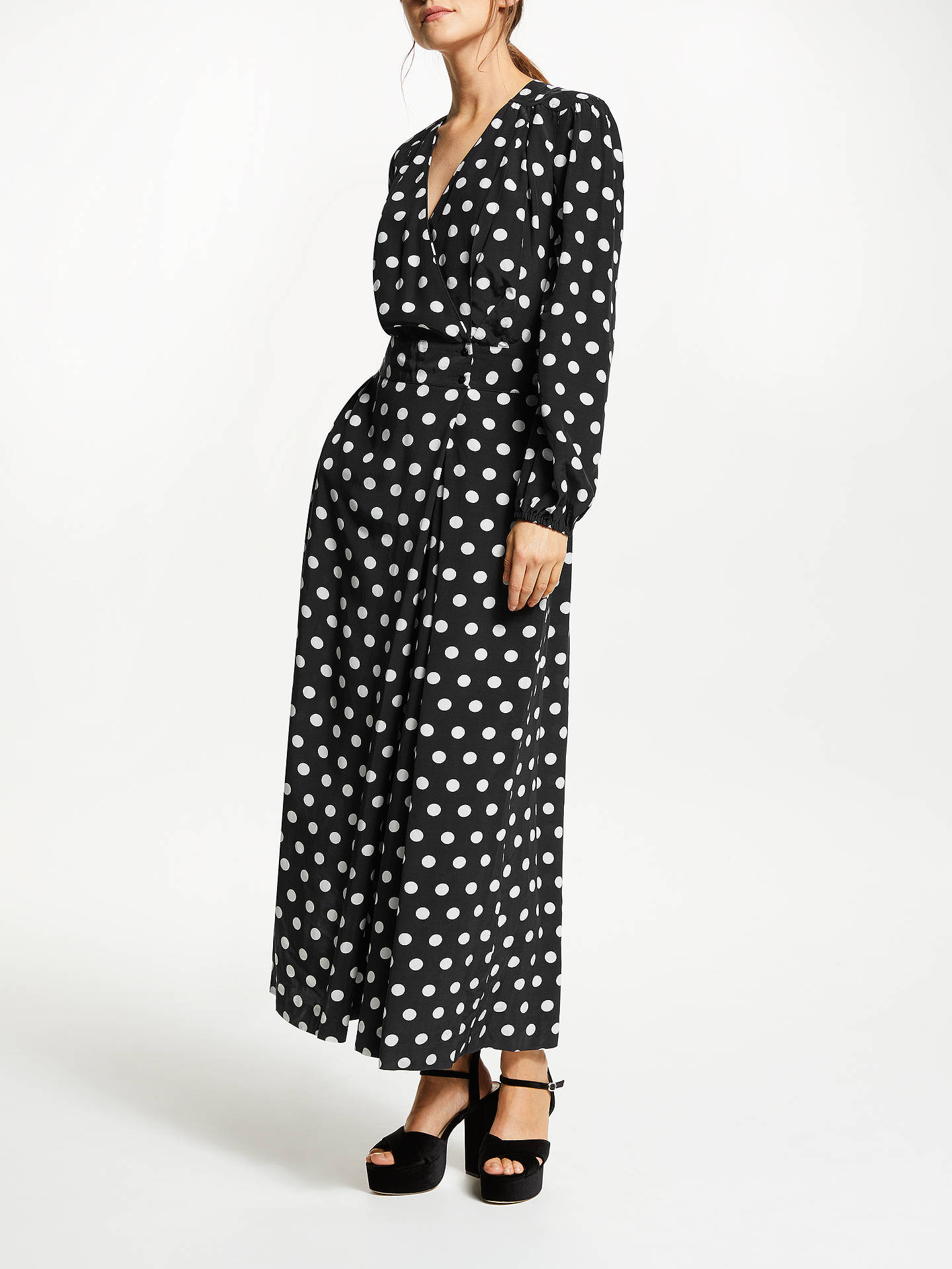 Somerset By Alice Temperley Large Dot Jumpsuit Blackwhite At John