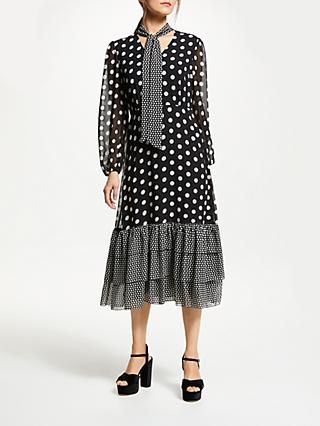 Somerset by Alice Temperley Dot Ruffle Tie Neck Dress, Black