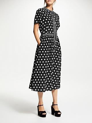 Somerset by Alice Temperley Tie Neck Mixed Dot Dress, Black/White