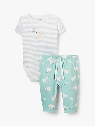 John Lewis & Partners Baby Polar Bear Bodysuit and Trousers Set, Multi