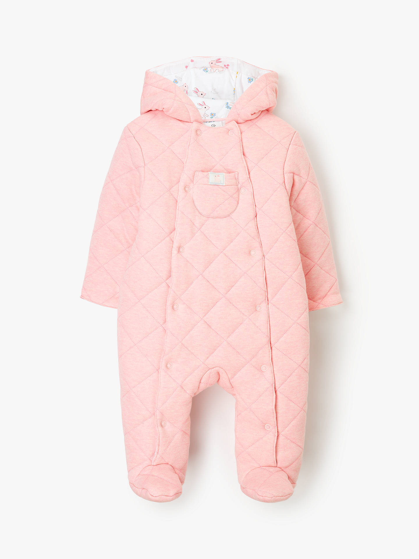 45cb3ea83712b Buy John Lewis & Partners Baby Quilted Pramsuit, Pink, Newborn Online at  johnlewis.