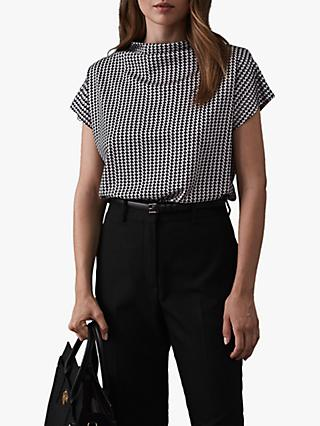 Reiss Pax Printed High Neck Top, Monochrome