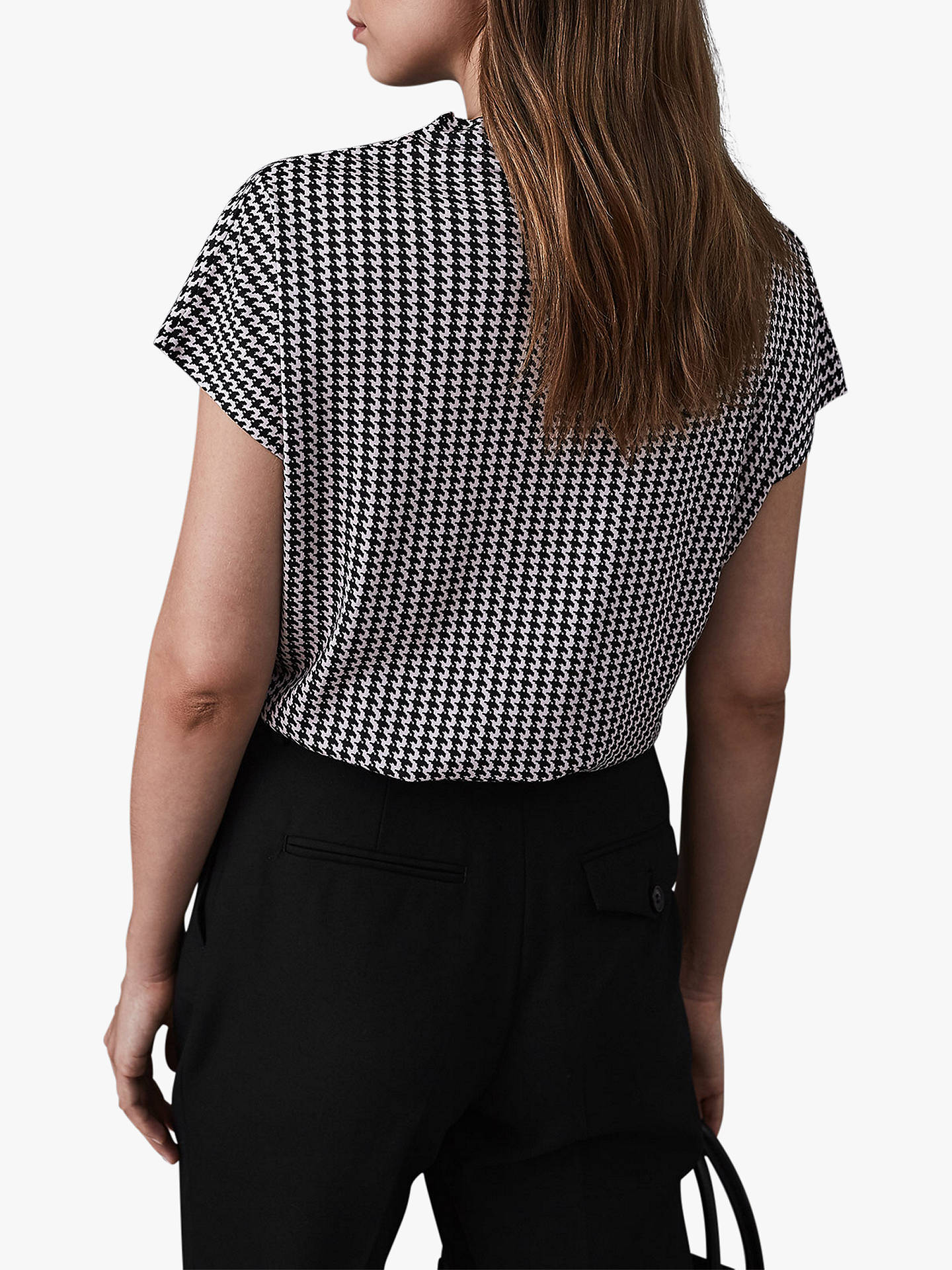 Buy Reiss Pax Printed High Neck Top, Monochrome, XS Online at johnlewis.com