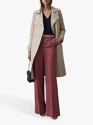 Buy Reiss Roma Leather Mac Coat, Natural Stone, 6 Online at johnlewis.com