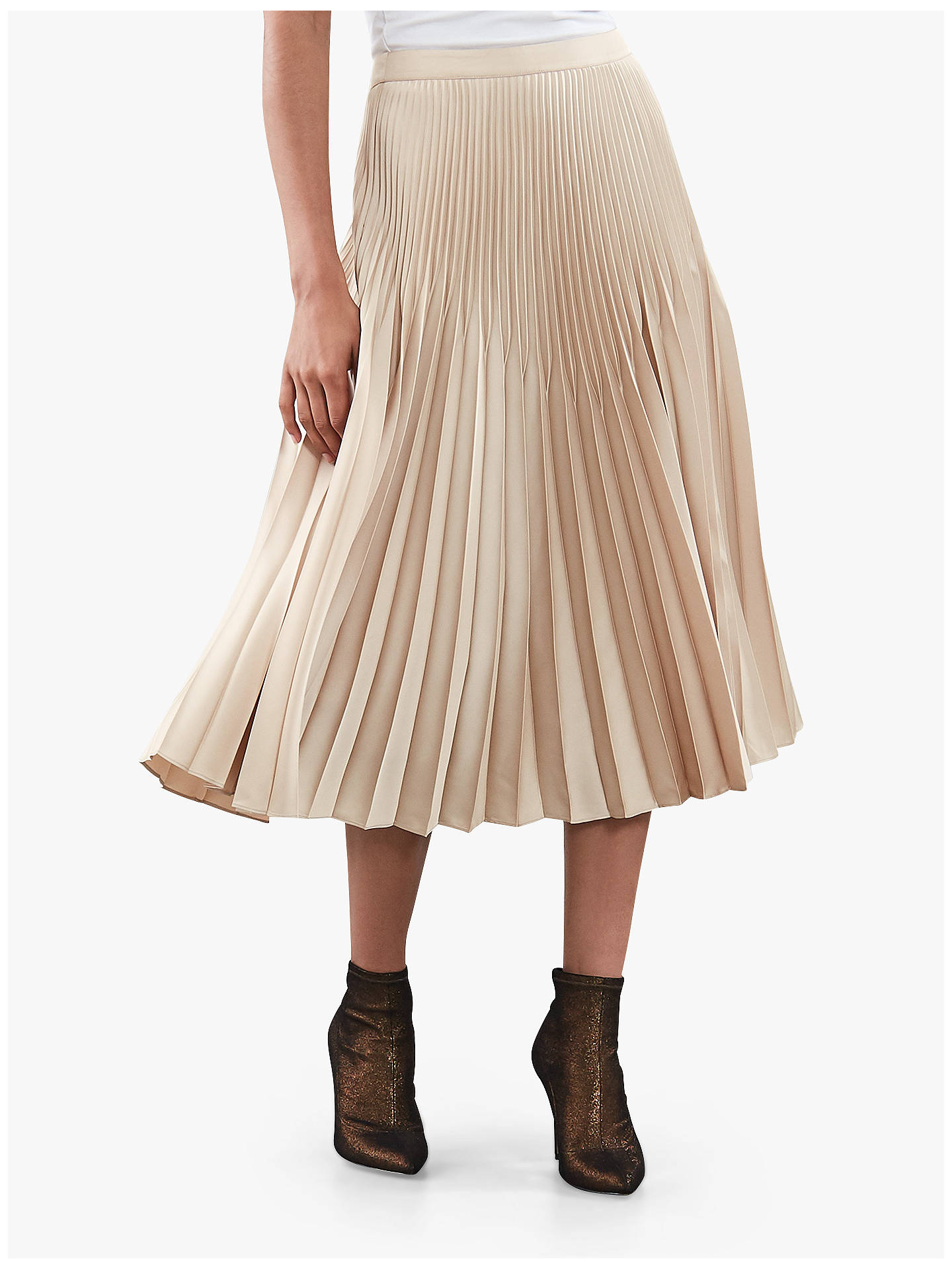 4965a8273 Buy Reiss Isidora Metallic Knife Pleat Midi Skirt, Light Gold, 6 Online at  johnlewis ...