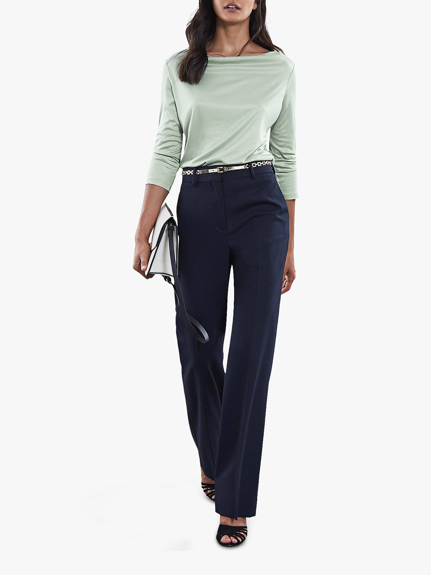 Buy Reiss Marilyn Straight Neck Top, Apple Green, XS Online at johnlewis.com