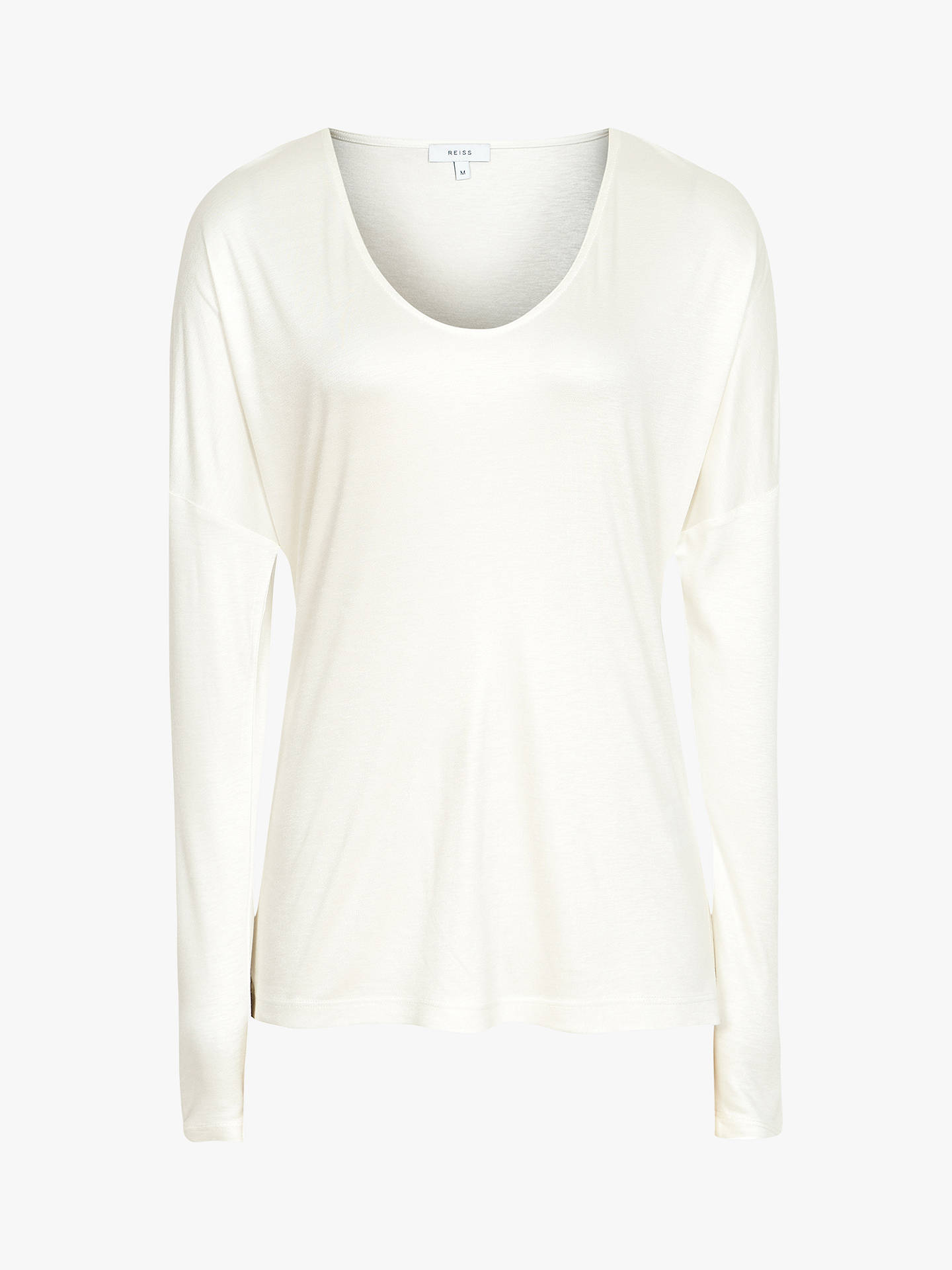 BuyReiss Nadea V-Neck Jersey Top, Off White, XS Online at johnlewis.com
