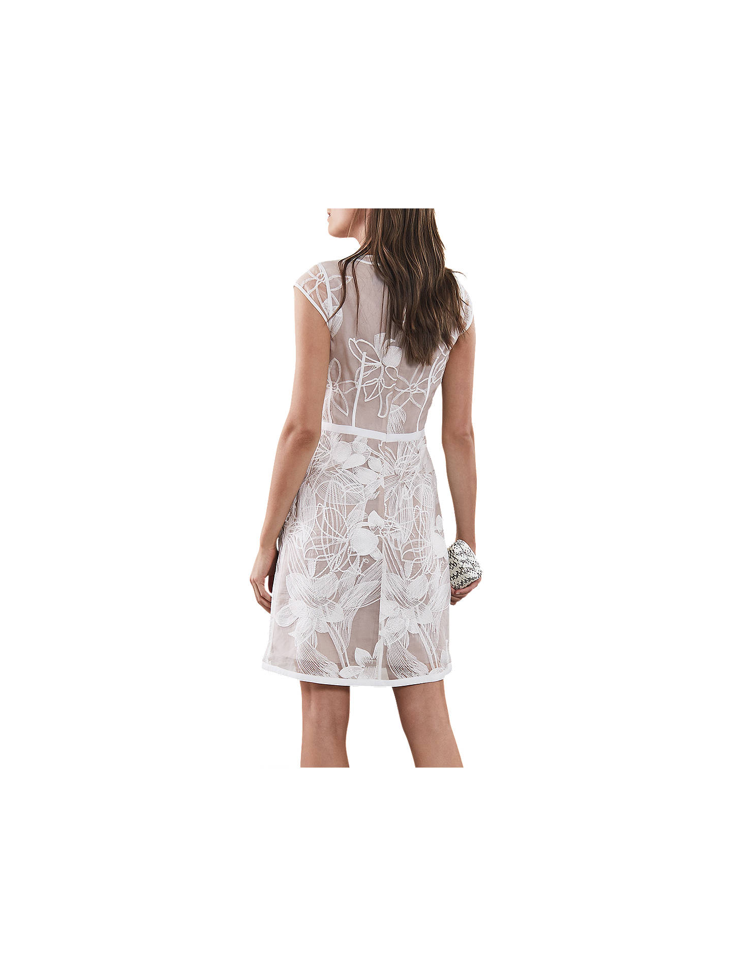 BuyReiss Ines Floral Dress, White/Nude, 6 Online at johnlewis.com