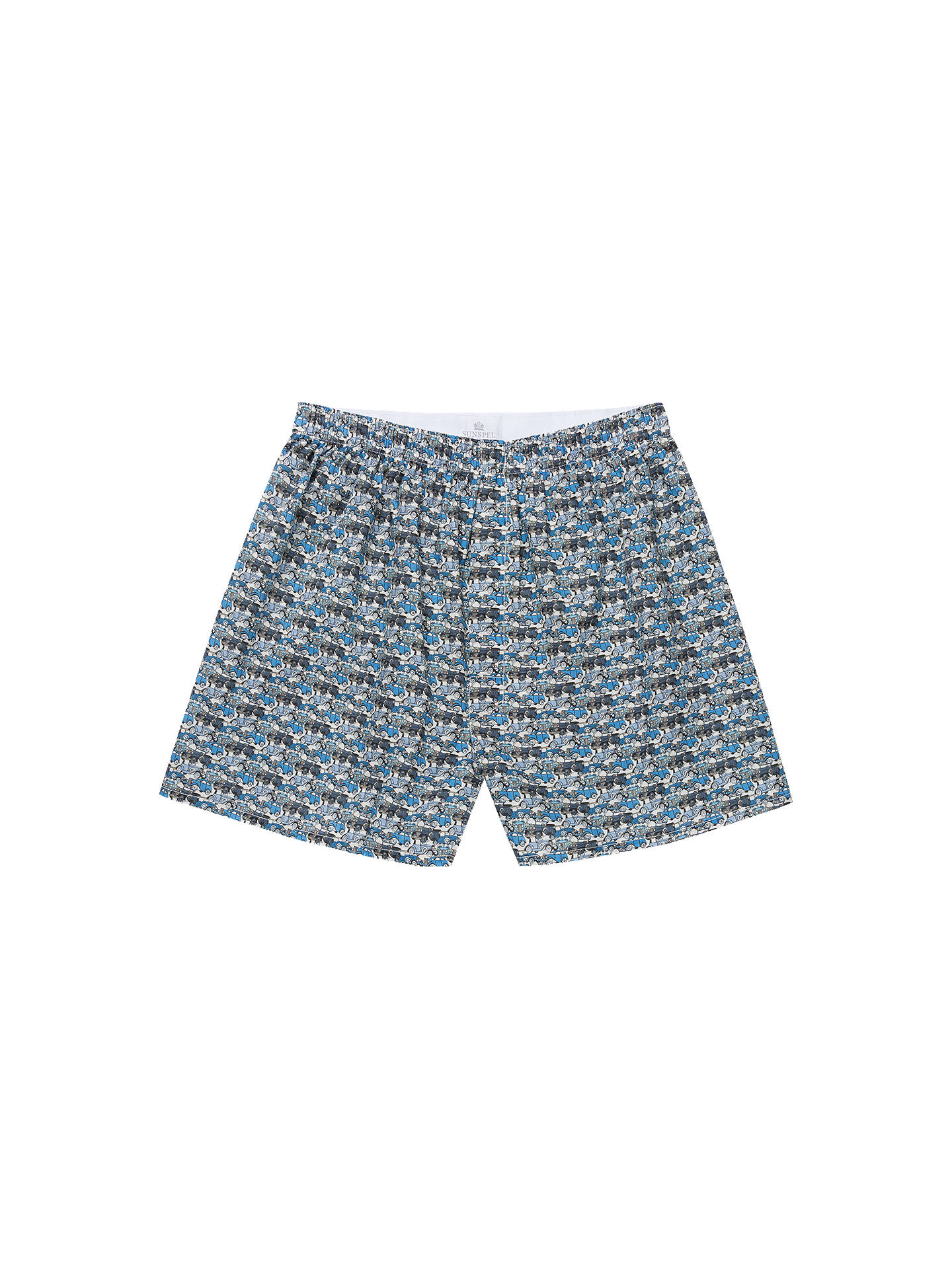 BuySunspel Roaring Wheels Woven Cotton Boxers, Blue, XL Online at johnlewis.com