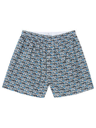 Buy Sunspel Roaring Wheels Woven Cotton Boxers, Blue, XL Online at johnlewis.com