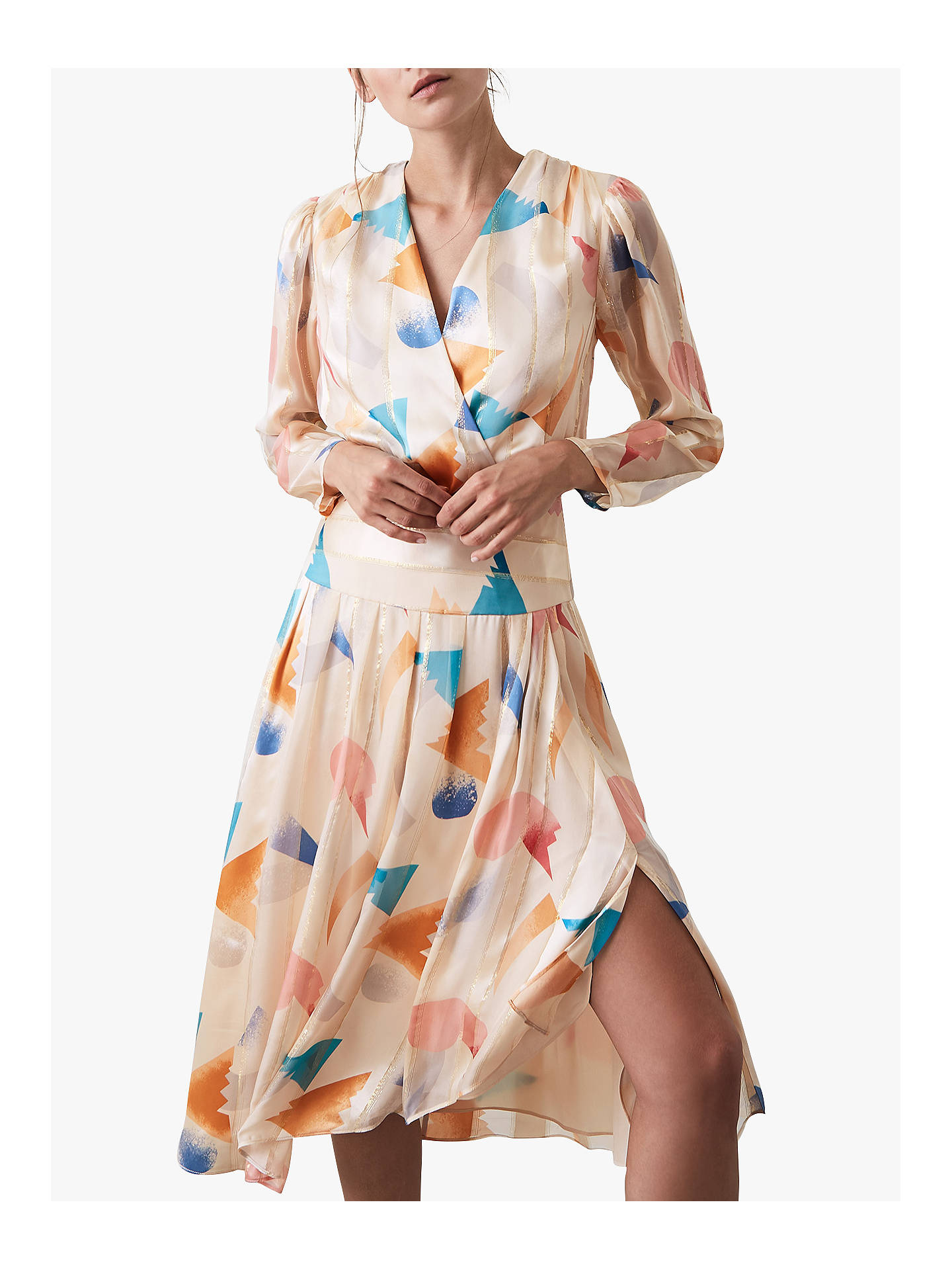 BuyReiss Silk Balance Print Pleated Dress, Neutral, 14 Online at johnlewis.com