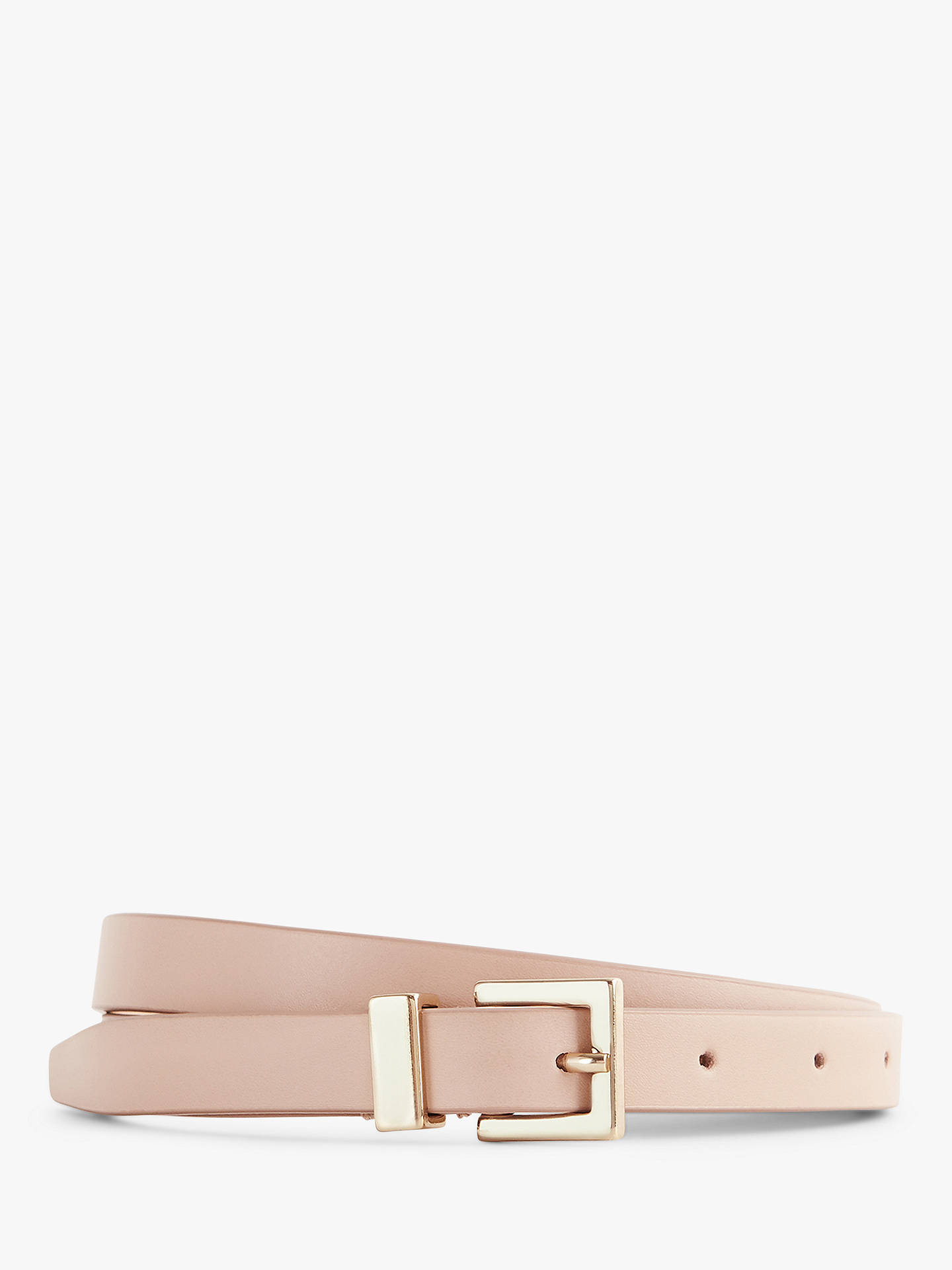 Buy Reiss Blossom Leather Skinny Belt, Nude, M Online at johnlewis.com