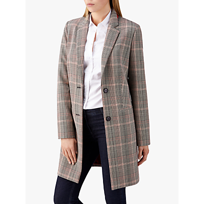 Pure Collection Single Breasted Check Coat, Multi