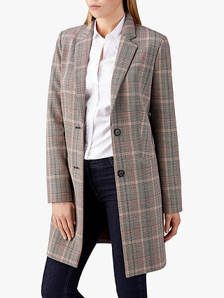 Buy Pure Collection Single Breasted Check Coat, Multi, 8 Online at johnlewis.com