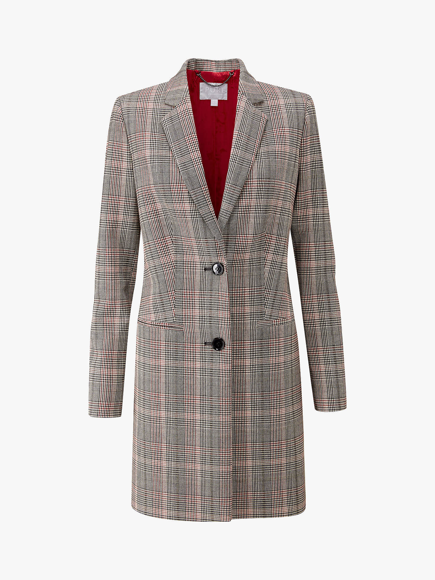 BuyPure Collection Single Breasted Check Coat, Multi, 8 Online at johnlewis.com