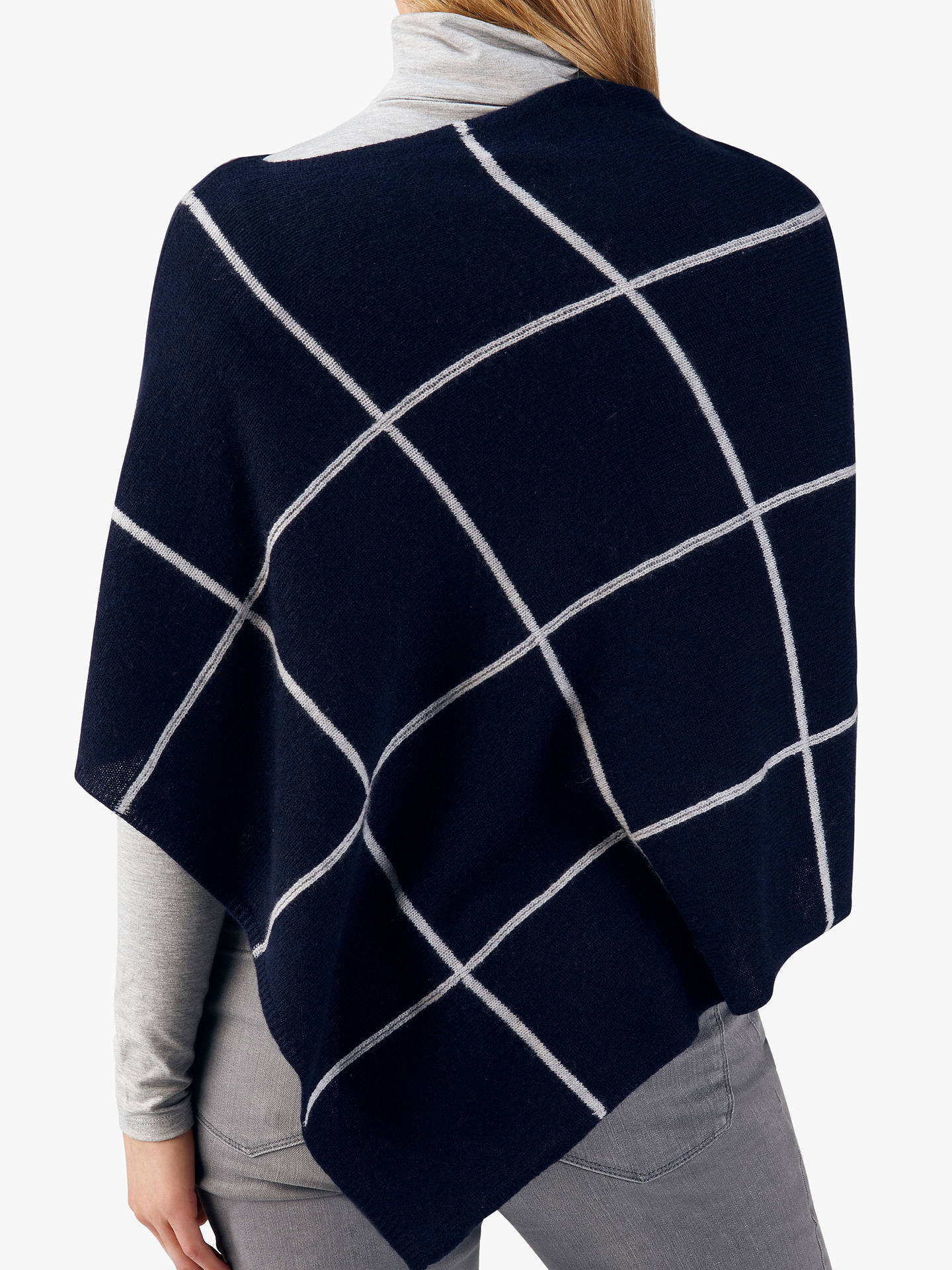 BuyPure Collection Gassato Poncho, Navy Check Online at johnlewis.com