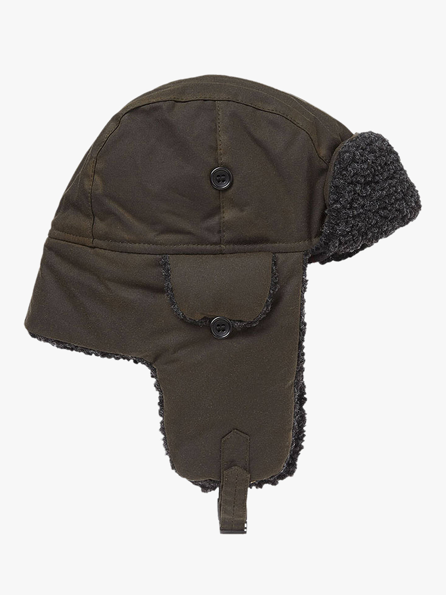 2d2fb7fd Buy Barbour Fleece Lined Trapper Hat, Green, XL Online at johnlewis.com ...